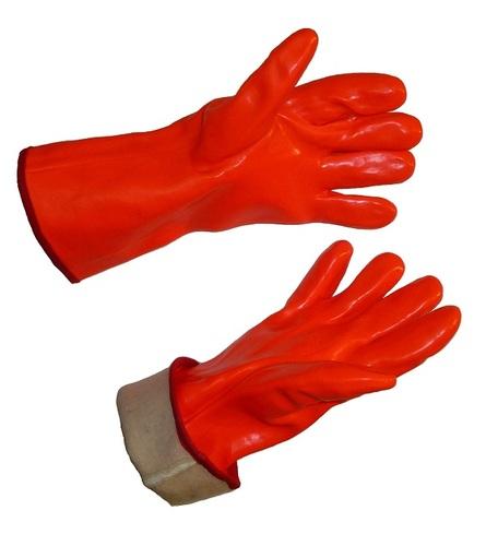 Rukavice oranžové PVC silně zateplené pětiprsté délka 30 cm