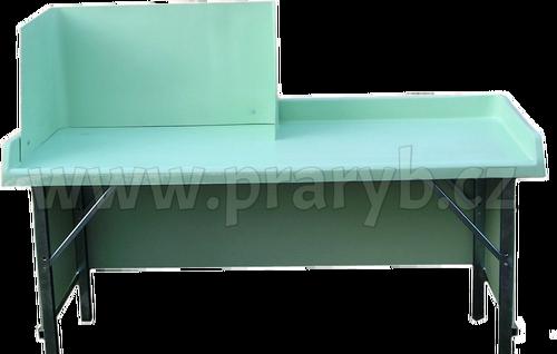 Stůl na prodej živých ryb menší, laminátová deska se zástěnou a s pozink. konstrukcí stolu