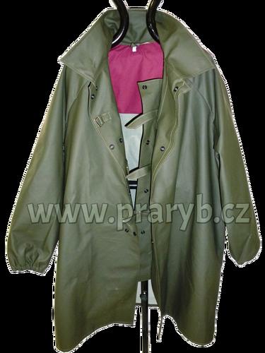 Kabát rybářský lovecký LOVEČKA se zvýšeným límcem přezky+druky koženkový zelený VINYTOL