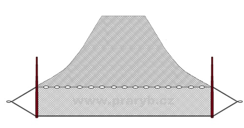NEVOD oka 30 mm / 16 x 35 m uzlovaná (obvod jádra 32 m)