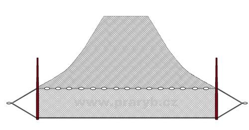 NEVOD oka 25 mm / 17 x 37 m uzlovaná (obvod jádra 34 m)