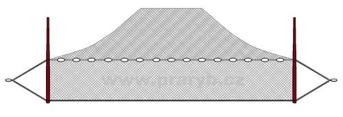 Plot PRUBNÍ oka 30 mm 5 x 80 m (obvod jádra 10 m) se zátěží 300g/m