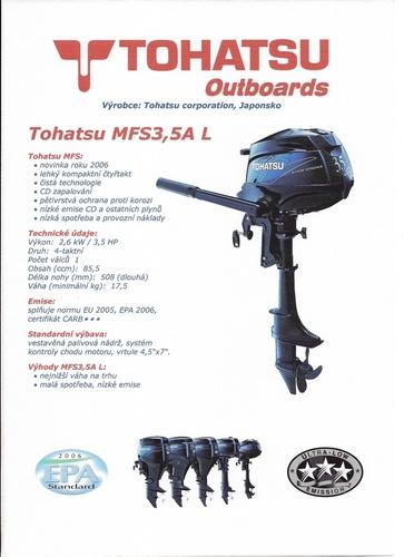 Motor lodní závěsný spalovací TOHATSU MFS3,5C L,  čtyřtakt., 2,6kW s dlouhou nohou