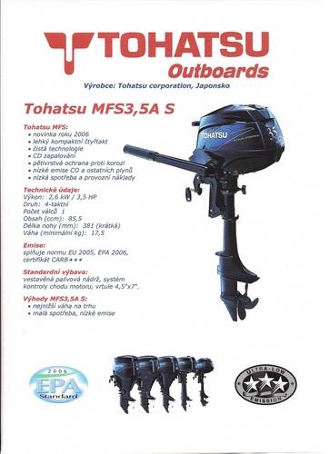 Motor lodní závěsný spalovací TOHATSU MFS3,5C S, čtyřtakt., 2,6kW
