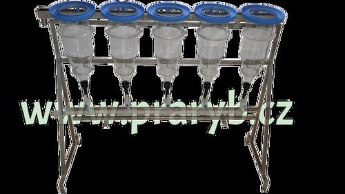 Stojan nerezový na 5 zugských láhví s rozvody kompletní včetně láhví a límců - výškově stavitelné nohy