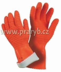 Rukavice protiskluzové latexové ORANŽOVÉ MAPA Harpon 321 velikost 7 - 7,5