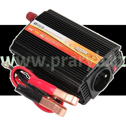 Měnič napětí 12V/230V 300W + USB
