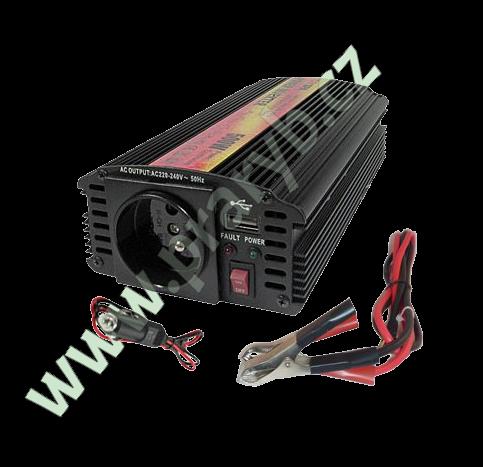 Měnič napětí 12V/230V 500W + USB