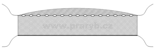Síť zátahová oka 10 mm / výška 4 m, délka 120 m se žezly
