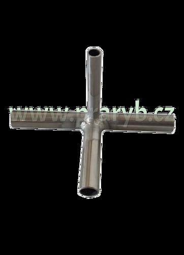 Průchodka T na provzdušňovací hadici nerezová (vývod 3 x 12 mm + 1 x 8 mm)