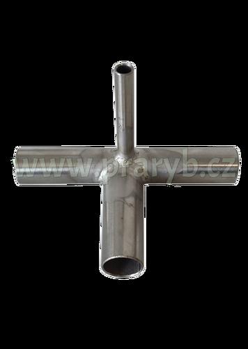 Průchodka T na kyslíkovou hadici nerezová (vývod 3 x 18 a 1 x 8 mm)