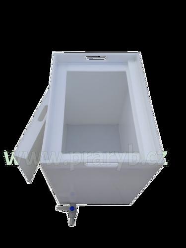 Nádrž 51 x 37 x 55 cm plastová bílá s vloženým víkem a vypouštěcím kohoutem - k přepravě živých ryb