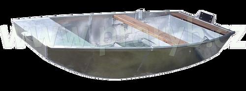 Loď hliníková 3 m jednošpicá s lavičkou, držáky vesel a držákem motoru