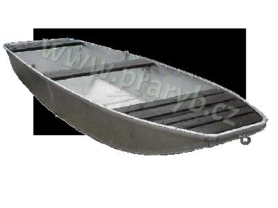 Loď hliníková 4 m jednošpicá s lavičkou a držáky vesel