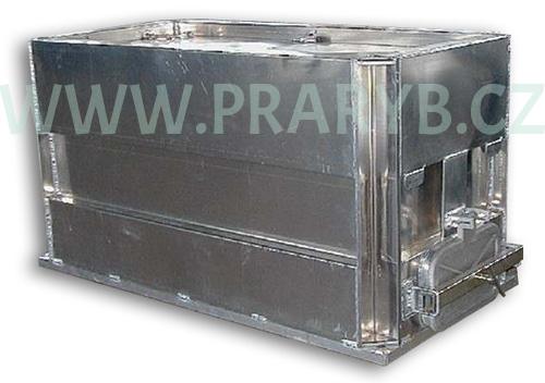 Bedna přepravní hliníková prolisovaná 2,14(2) x 1 x 1 m s provzdušňováním, objem 2 m3 - na přepravu živých ryb, s kompresorem