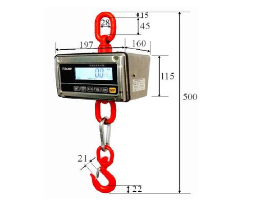 Závěsná váha digitální J1-RWS/150, váživost do 150 kg, nerezová, obchodní