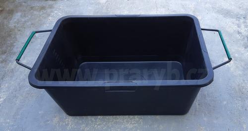 Koš PE (vanička) černá s celoobvodovým kovovým rámem a uchy objem cca 90 litrů