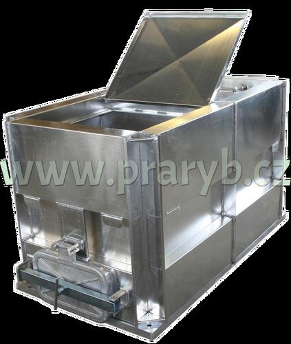 Bedna přepravní hliníková prolisovaná  2,14(2) x 1 x 1 m na přepravu živých ryb, dělená