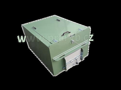 Bedna přepravní plastová PP 1,35(1,25) x 1 x 0,8 m s provzdušňovacím rámem a kompresorem - (kompresor 12V, 25 W, 80 kPa, 55 litrů/min)