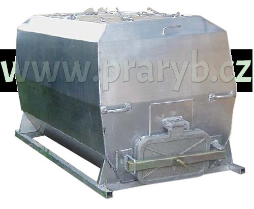 Bedna přepravní hliníková zkosená,  2,14(2) x 1 x 1 m na živé ryby, objem 2 m3