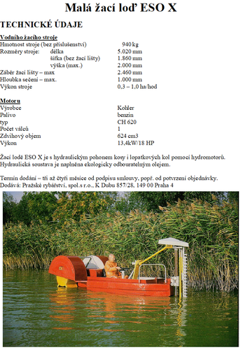 Žací loď s motorem s hydraulickým ovládáním žací lišty a pohonu