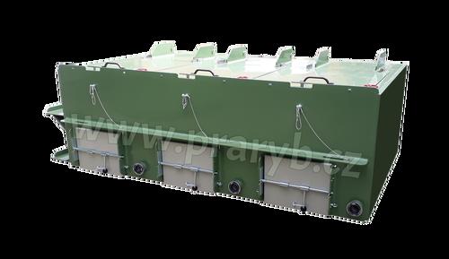 Bedna přepravní (monoblok - trojbox) plastová PP 1,96(1,85) x 3,2 x 1 m, průtokoměry - s proplachem, na přepravu živých ryb