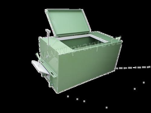Bedna přepravní plastová PP 2,1(2) x 1 x 1 m, 2 výpustě a schrána s průtokoměr na O2 - na přepravu živých ryb