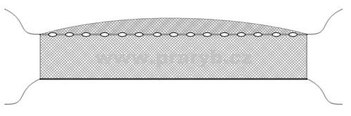 Síť zátahová oka 20 mm / výška 2,5 m délka 8 m se žezly