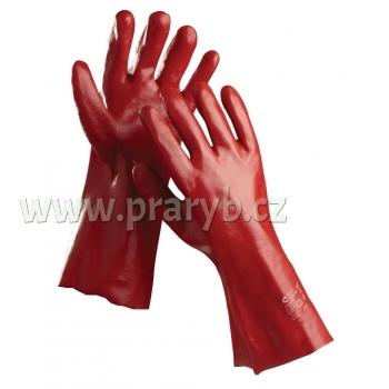 Rukavice červené PVC s textilní vložkou, délka 45 cm
