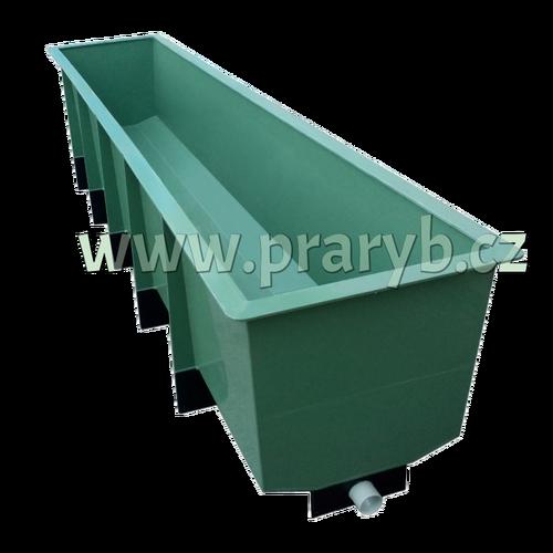 Žlab ( bazén ) odchovný PP 370 x 78 x 60 cm s odpadem a nerez sítem