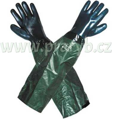 Rukavice dlouhé 65 cm PVC s textilní vložkou