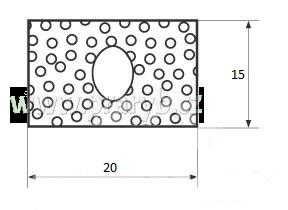 Těsnění obdélník na víko hliníkové bedny - Mikroprofil 15 x 20 mm s dutinkou, -30°/+80°C